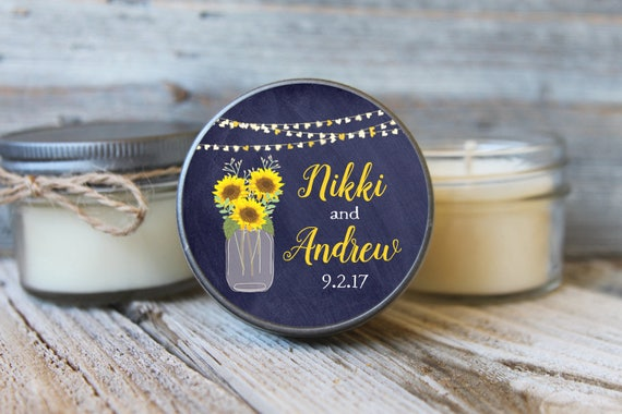 12 - 4 oz Wedding Favor Candle//Sunflower Mason Jar Favor//Heart//Soy Candle Favor//Personalized Bridal Shower Favor//Shower Favor