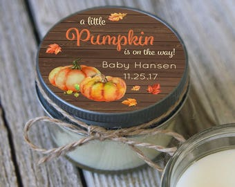 Set of 12 - 4 oz Baby Shower Candle Favor - Soy - Personalized Baby Shower Favors // Little Pumpkin Baby Shower//Little Pumkpin Favors