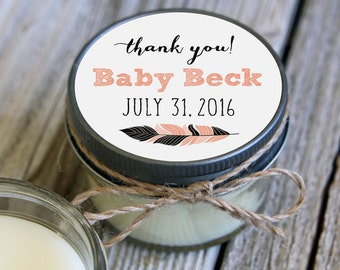 Set of 12 - 4 oz SoyCandle Favor//Tribal Baby Shower//Girl Baby Shower//Boy Baby Shower//Feather Shower Favor//Coral Baby Shower