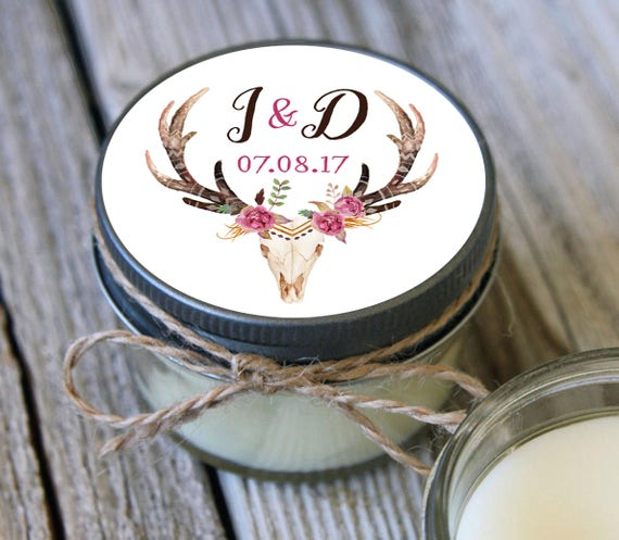 12 - 4 oz Soy Candle Bridal Shower Favors - Deer Skull Label - Floral Bridal Shower Favors - Rustic Wedding Favor -Wedding Favor