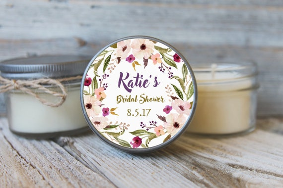 12 - 4 oz Soy Candle Bridal Shower Favors - Floral Wreath Label - Floral Bridal Shower Favors - Purple Bridal Shower Favor - Mason Jar Favor