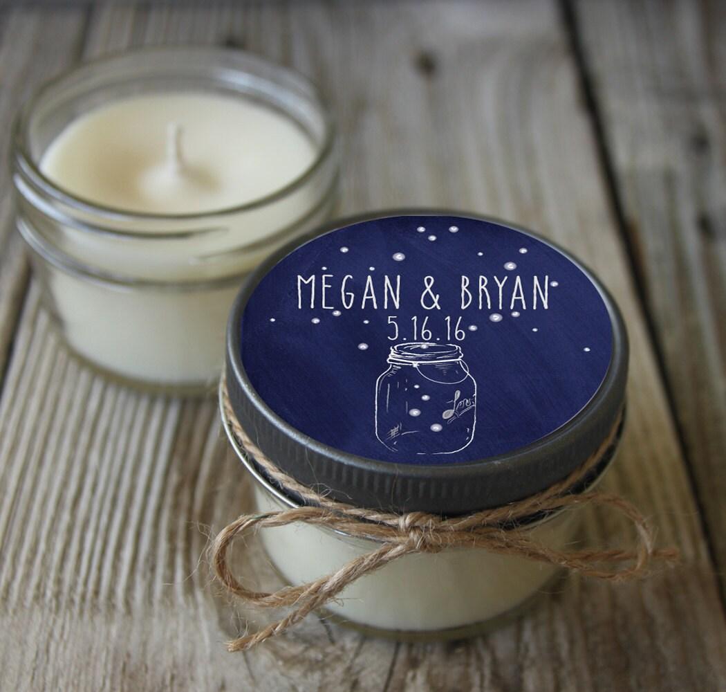 12 4 oz mason jar candle bridal shower favor fireflies in mason jarpersonalized wedding favorshower favorcandle favors