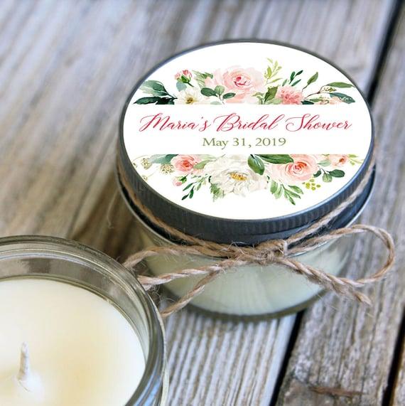12 - 4 oz Soy Candle Bridal Shower Favors -Pink Floral - Greenery Design