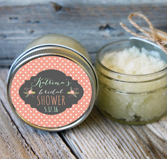 Set of 12- 4oz - Sugar Scrub Bridal Shower Favor - All-Natural Polka Dots Label Design // Rustic Shower Favor // Mason Jar Favor