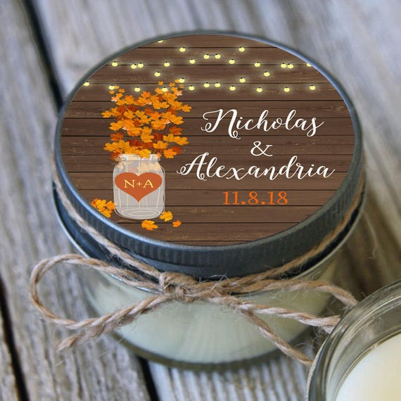 12 - 4 oz Bridal Shower Favor//Fall Leaves Mason Jar Favor//Soy Candle Favor//Personalized Bridal Shower Favor//Shower Favor//Autumn Favor