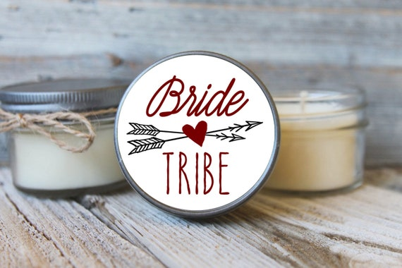 Bride Tribe Candle Favors / Set of 6 - 4 oz Soy Candles -