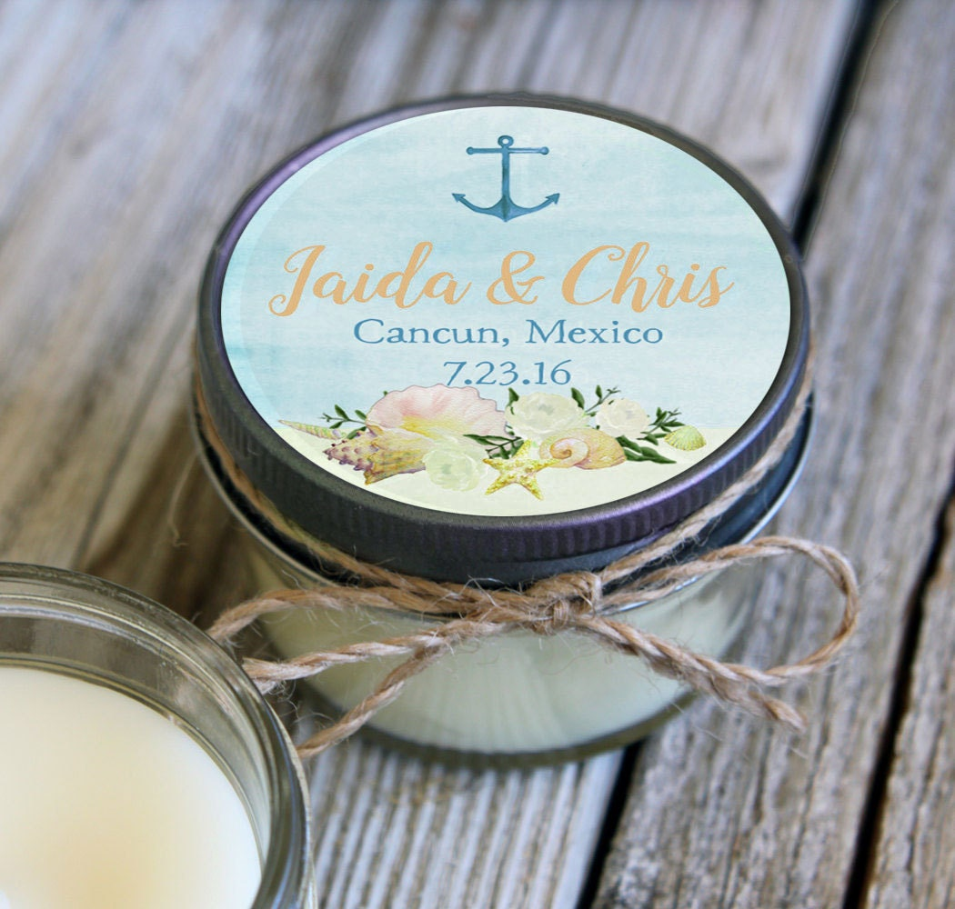 Personalized Beach Wedding Gifts: 4 Oz Wedding Favor//Beach Wedding Favor//Soy Candle