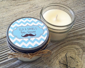 Set of 12 - 4 oz Baby Shower Candle Favor - Soy - Personalized Baby Shower  Favors // Mustache // Chevron Baby Shower Favors