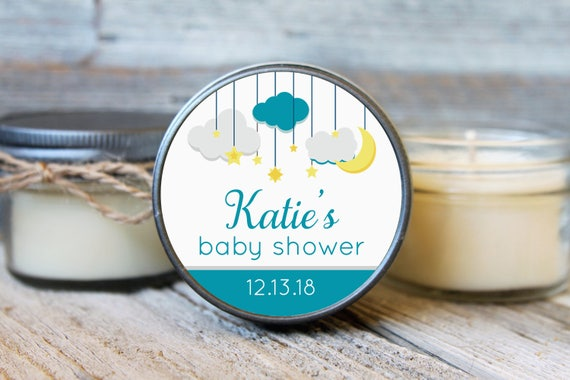 Set of 12 - 4 oz Baby Shower Candle Favor - Soy -Stars and Moon // Twinkle Twinkle Little Star Baby Shower Favors
