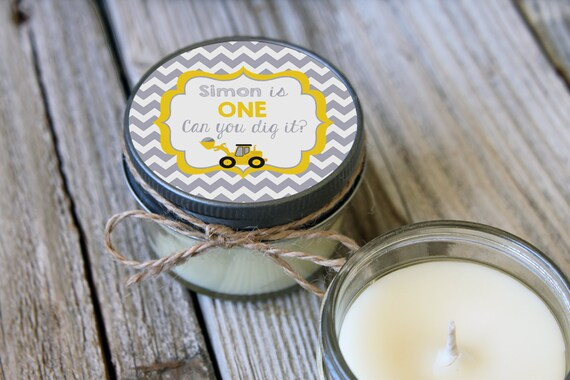 Set of 12 - 4 oz Baby Boy Shower Favor Candle- Personalized Baby Shower Favors // Dumptruck//Yellow Baby Shower//Favors