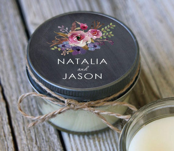 12 - 4 oz Soy Candle Wedding Favors - Chalkboard Floral Label - Bridal Shower Favors - Chalkboard Bridal Shower Favor - Wedding Favor Candle