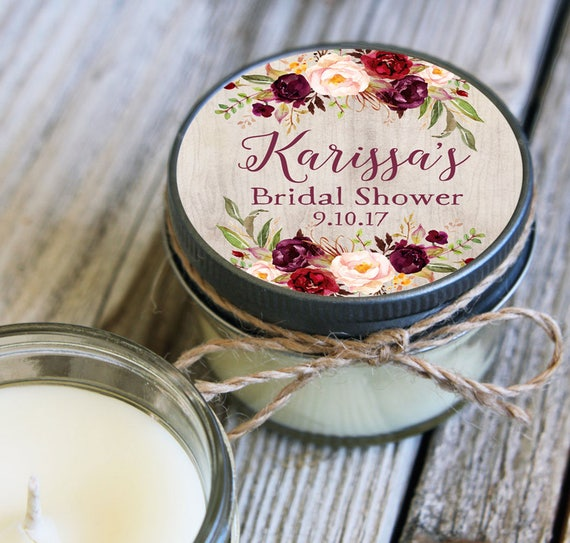 36 - 4 oz Soy Candle Bridal Shower Favors - Floral Label - Floral Bridal Shower Favors - Marsala Bridal Shower Favor