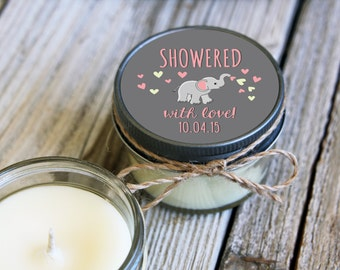 Set of 12 - 4 oz SoyCandle Favor//Elephant Baby Shower//Girl Baby Shower//Boy Baby Shower//Unique Shower Favor//Baby Elephant Baby Shower