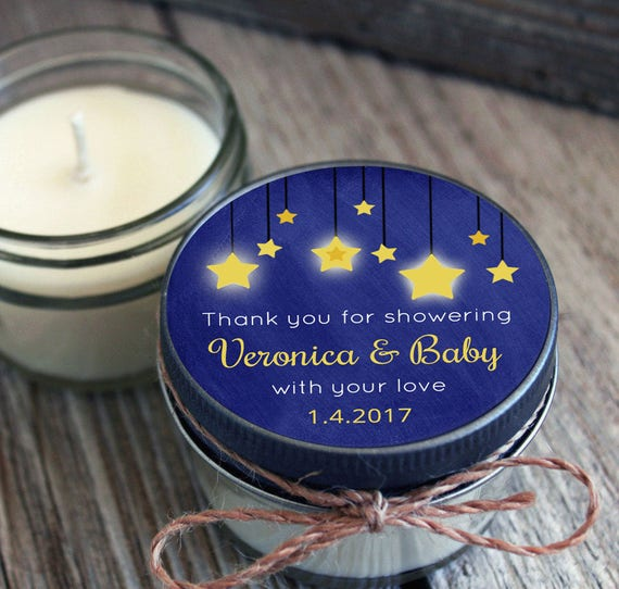 Set of 12 - 4 oz Baby Shower Favor Candle- Personalized Baby Shower Favors // Chalkboard Twinkle Twinkle Little Star Favors