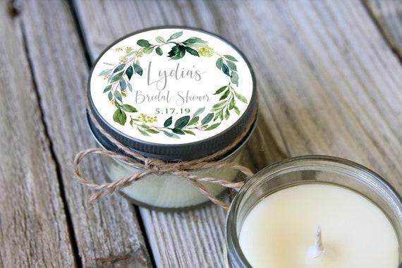 12 - 4 oz Soy Candle Bridal Shower Favors - Eucalyptus - Greenery Design