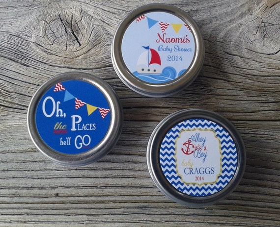 24 Custom Baby Shower Lip Balm Favor, Nautical Baby Shower, Anchor Baby Shower, Personalized