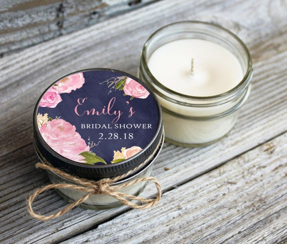 Set of 12 - 4 oz Candle Wedding Favor//Soy Candle Favor//Personalized Wedding Favors //Floral Wedding//Chalkboard & Rose Wedding Favors