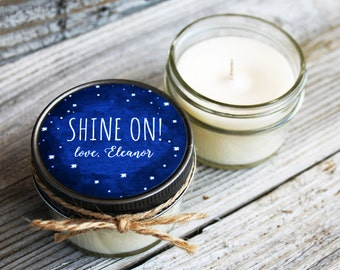 Set of 12 - 4 oz Wedding Favor Candle - Soy - Personalized Wedding Favors // Chalkboard Starry Night Wedding Favors