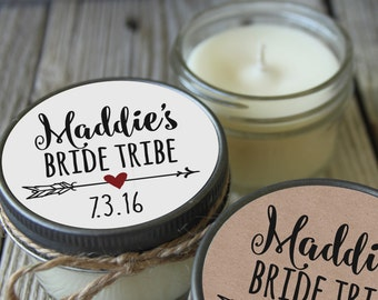 Set of 12 - 4 oz Soy Candles - Bride Tribe Candles//Bride Tribe Shower Favors//Team Bride Favors//Team Bride//Bridal Brigade
