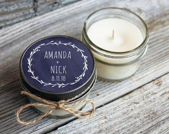 Set of 12 - 4 oz Soy Candle Wedding Favors - Chalkboard Laurel - Rustic Wedding Favor