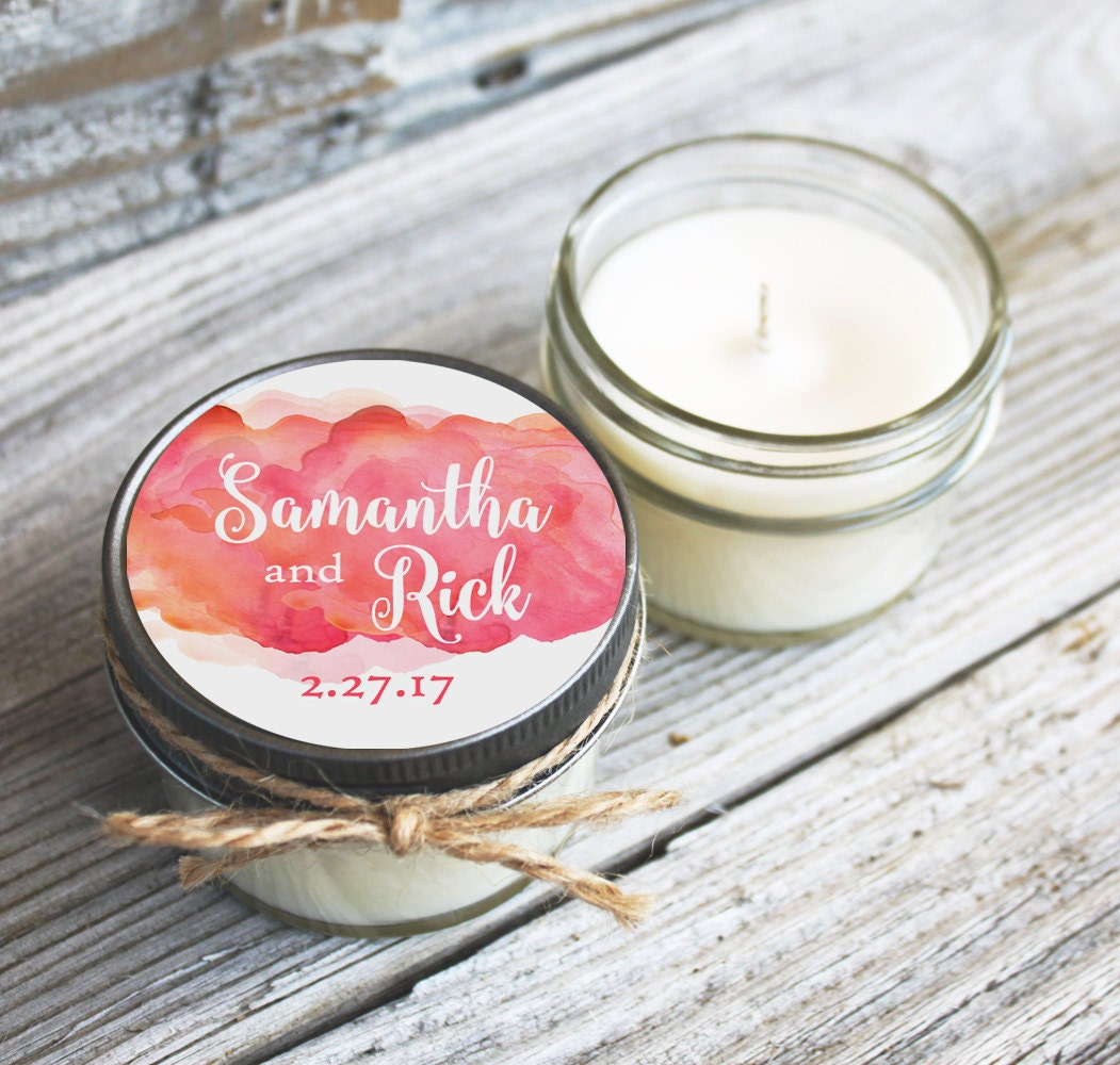 Set of 12 - 4 oz Wedding Favor Candles - Personalized Wedding Favors ...