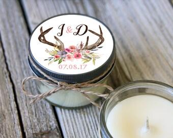 12 - 4 oz Soy Candle Bridal Shower Favors - Deer Antler Label - Floral Bridal Shower Favors - Rustic Bridal Shower Favor - Mason Jar Favor