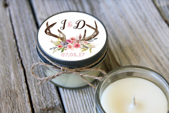 75 - 4 oz Soy Candle Bridal Shower Favors - Deer Antler Label - California Shipping Only - Reserved