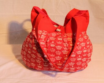 Red with White Crowns Bag