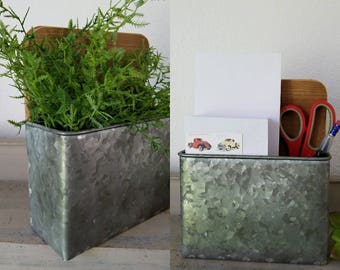 2 Galvanized Wall Planter With Faux Plant Wall Pocket Mail Desk Office  Supplies Farmhouse