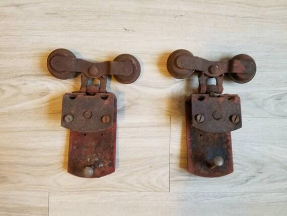 Vintage Barn Door Rollers Brackets Antique Industrial Etsy