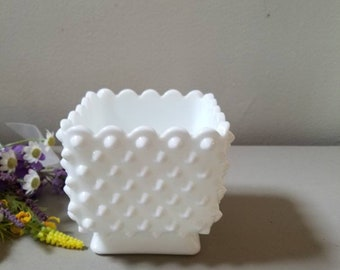 Vintage Square Fenton White Milk Glass Hobnail Planter