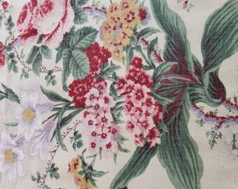 """4 YARDS Vintage WAVERLY Fabric, LUCINDA, Hydrangea Floral, 4 yards 54"""" Wide, French Country Cottage, Farmhouse, Fabric"""