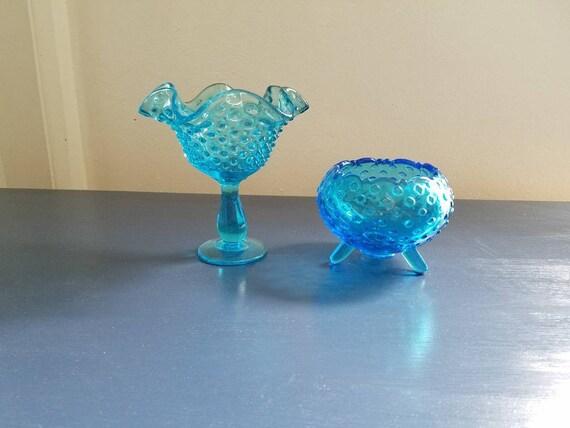 2 Vintage Blue Glass Vases Fenton Blue Hobnail Footed Vase Etsy