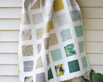 """PDF Pattern for """"Frolic"""" Cot Crib Throw Size Patchwork Quilt. Modern Classic Handmade Quilt instruction - make yourself"""