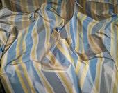 SILK LOOM PARISIAN Iridescent Stripes Silk Taffeta Fabric 10 yards Navy Blue Taupe Goldenrod