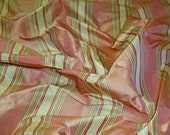 STROHEIM ROMANN ANNAHEIM Silk Taffeta Stripes Damask Fabric 10 Yards Rose Pink Cream Green