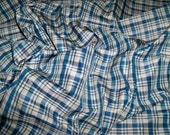 SILK LOOM BONNEVILLE Silk Check Plaid Fabric 10 yards Blue White