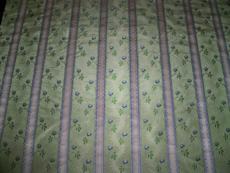 CLARENCE HOUSE MAITLAND Shabby Roses French Lisere Silk Damask Fabric 1 Yard Remnant Celadon Blue Opal