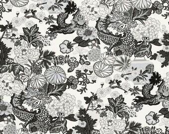 SCHUMACHER Chinoiserie CHIANG Mai DRAGON Linen Fabric 10 yards Grey Multi