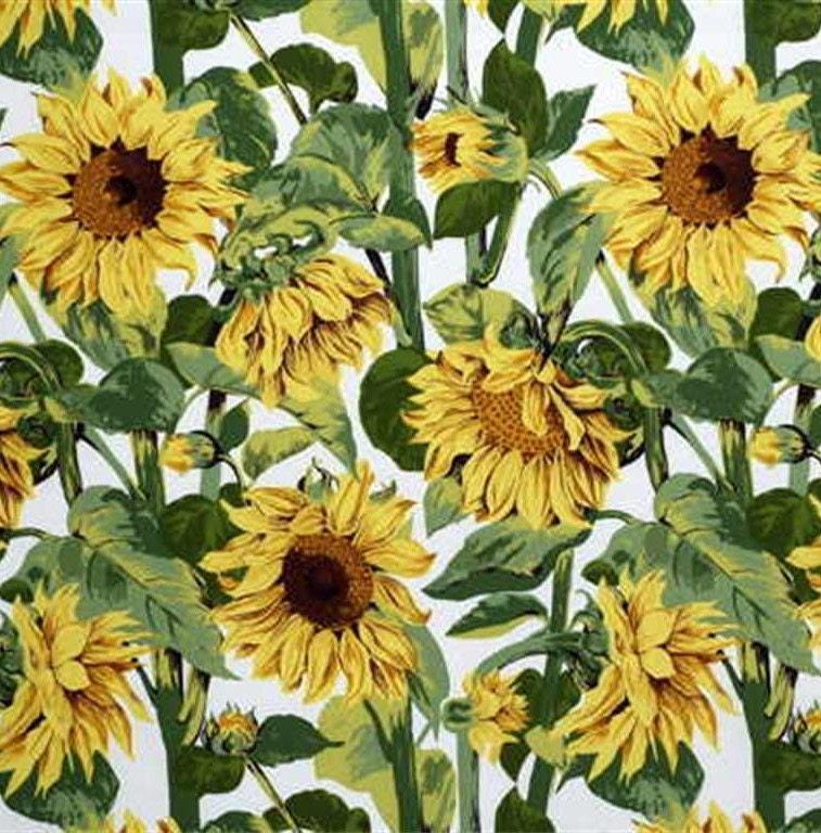 LEE LEE LEE JOFA KRAVET tournesols Gogo 10 verges de tissu blanc en coton vert jaune marron 080de2