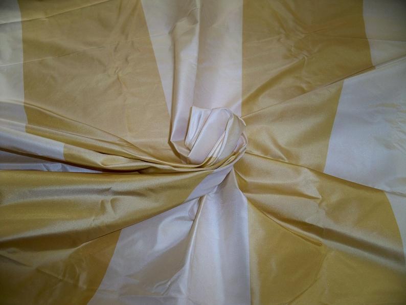 PINDLER CIELO STRIPES Silk Taffeta Fabric 6 Yards Cream Gold