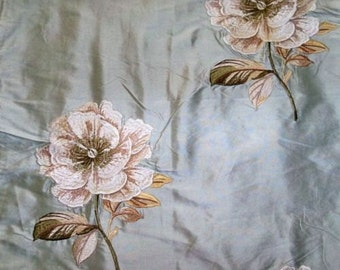 COLEFAX LOUISE Embroidered Floral Silk Fabric 10 Yards Old Blue-Aqua Blue Oyster Cream