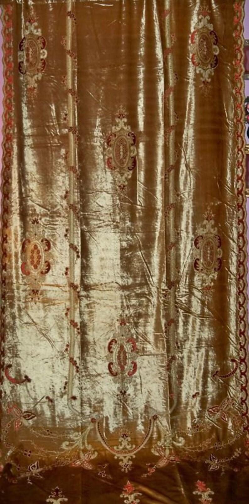 Tende In Velluto Di Seta carlota mozzafiata ricamato in velluto di seta tessuto tende pannelli oro