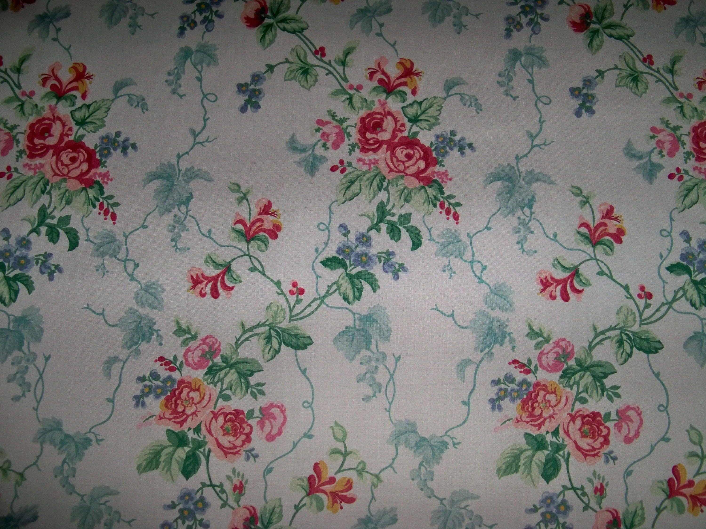 LEE JOFA KRAVET Roses Shabby Shabby Shabby vigne treillis poli tissu de coton 10 verges blanc cassé / Rose Rose vert Aqua 16adfc