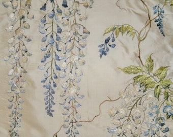 COLEFAX & FOWLER WISTERIA Embroidered Silk Fabric 10 Yards Blue Green Oyster Cream