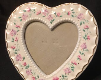 Vintage Heart Picture Frame Heart Shape Fancy Cottage Chic Soft Pink Flowers Gold Trim SALE PRICE was 14.99 now 5.99