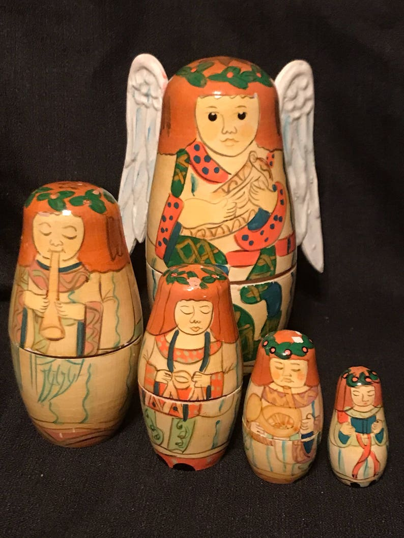 Vintage Angels Nesting Boxes Set Of 5 Nesting Dolls Wooden Angels Sale Price Was 2000 Now 1499