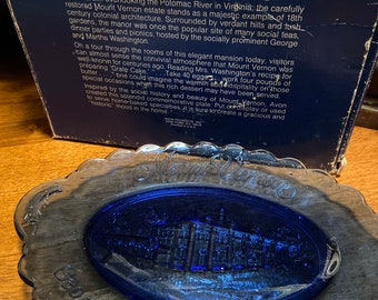 Vintage Fosteria Platter Avon Mount Vernon Plate 1970's Blue Glass FREE SHIPPING