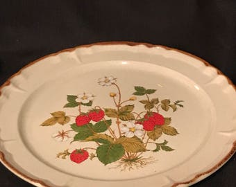 "Vintage Strawberry Platter  ""Strawberry Patch"" Retro 1970's Platter 12"" SALE PRICE was 22.00 now 10.00"