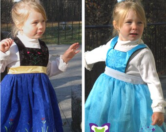 Frozen Inspired Reversible Dress - Ella Dress collection - Girls Sizes 2-6X Play Dress or Costume